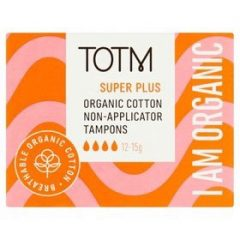 TOTM Organic Cotton Non-Applicator Tampons Super Plus
