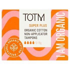 TOTM Organic Cotton Non-Applicator Tampons Super Plus