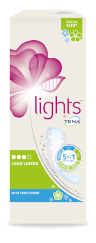 TENA Lights Long Liners with fresh scent